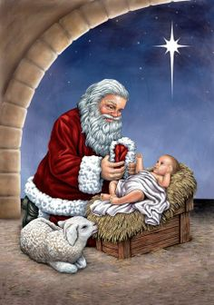 I know it's not historically correct but I love images of Santa with Baby Jesus