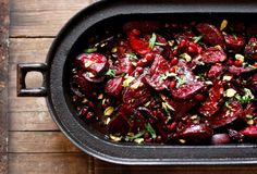 Moroccan Roasted Beets with Balsamic Glaze, Pomegranate, Pistachio, easy, tasty, festive side dish, save the leftovers for salad the next day!