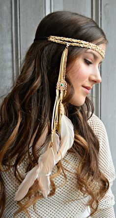 Peach Feather headband, made with a gold dream catcher that is made with feathers, and suede gold chain braided cord and elastic backing for ease of