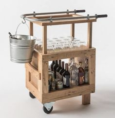 bar cart on wheels made from pallets l Gardenista