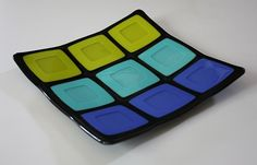 Fused Glass Plate  Large Colorful Squares by OnlineGlass on Etsy, $25.00