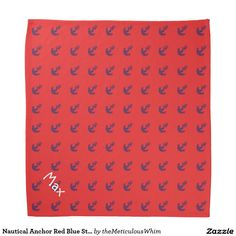 Nautical Anchor Red Blue Striped Pet Name Template Bandana
