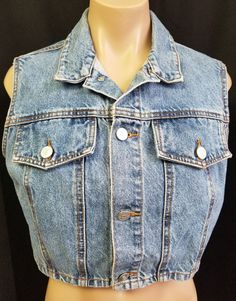 6362d5ebc3bd1b Vintage 90s BONGO Cropped Jean Vest Size Large USA Blue Denim Gene  Montesano  BONGO