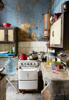 The Cuban Kitchen by Ellen Silverman. This one and many other beautyful captured Cuban kitchen pictures at her website. Messy Kitchen, Umbrella Art, Abandoned Places, Cuban, Decoration, Kitchen Decor, Room Decor, Interior Design, Architecture