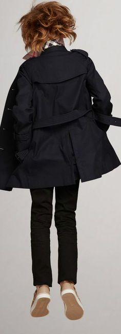 79be75dfa80b Burberry Kids Boy Wiltshire Navy Trench Coat. This classic navy mini-me trench  coat