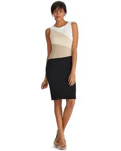 White House   Black Market Sleeveless Colorblock Neutral Sheath Dress #whbm Too cute...love their dresses