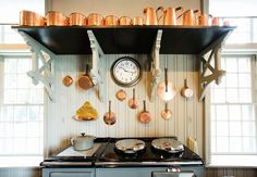 Martha's copper collection molds and pots