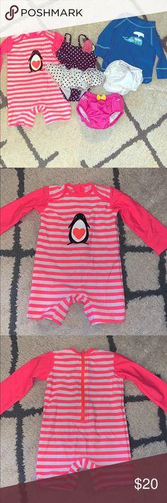 NWT Gymboree Panda Rash Guard swimsuit Baby Girl 6 12 18 24M UPF 50+