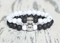 custom couples bracelet his hers beaded bracelets engraved personalized couple matching gift for boyfriend anniversary love set black white Gifts For Boys, Gifts For Her, Anniversary Surprise, Couple Bracelets, Matching Gifts, Couple Gifts, Boyfriend Gifts, Laser Engraving, Beaded Bracelets