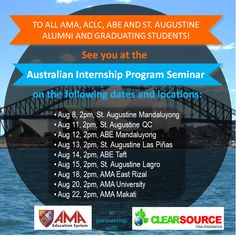 Australian Internship Program Seminar for all AMA, ABE, ACLC and St. Augustine graduating students and alumni!
