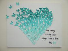 El Yapımı Kağıt Kelebek Kalp Sanatı! Bebek odası için harika ...