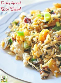 Looking for healthy turkey leftover recipes? Try Turkey Apricot Rice Salad! It's a naturally gluten free easy to make salad recipe that's a great way to use Thanksgiving leftovers.