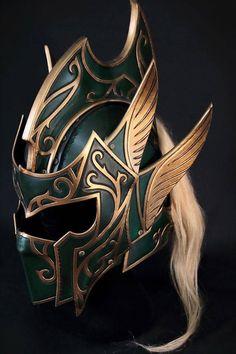 Items similar to ELF Fantasy Leather Helmet on Etsy Helmet Armor, Us Armor, Body Armor, Fantasy Armor, Fantasy Weapons, Medieval Fantasy, Armadura Medieval, Helmet Design, Mask Design