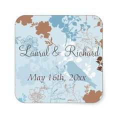 Chocolate & Blue Floral Wedding Stickers
