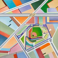 Fenway Park by Angela Fiori  http://angelafiori.com/Angela_Pacini_Fiori/FENWAY_PARK.html #Illustration #Map #Fenway_Park