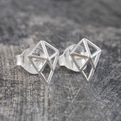 Geometric Diamond Silver Stud Earrings - These super-cool and on trend Geometric Diamond Silver Stud Earrings feature a geometric webbed design in the shape of a diamond that is sure to get you noticed - choose a metal finish to suit your style! #Otisjaxon #Jewellery