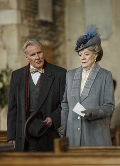 Downton Abbey Season 6: Dame Maggie Smith as Violet Crawley, Dowager Countess of Grantham, with Dr. Clarkson