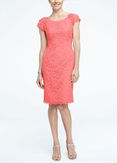Vibrant hues of feminine lace will make a captivating statement that your bridesmaids will love!  Cap sleeve all over corded lace bodice with round neckline and scalloped hem.  Features exposed backzipper detailing.  Fully lined. Back zip. Imported polyester. Dry clean only.  To protect your dress, try our Non Woven Garment Bag.