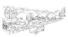 Zespół domów w układzie pasmowo-szeregowym. Projekt: Karolina Chodura, WA Politechniki Śląskiej Diagram, Map, House Architecture, World, Drawings, Sketch, Home Architecture, Sketch Drawing, Location Map