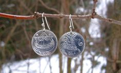 Image of Celtic/Viking Coin Earrings with Stag and Longboat