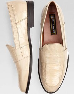 $85 Fit #1 Stacy Adams Bone Snakeskin Penny Loafers | Men's Wearhouse Mens Fashion Summer Outfits, Mens Fashion Shoes, Moda Fashion, Leather Fashion, Men's Fashion, Only Shoes, Men's Shoes, Dress Shoes, Penny Loafers