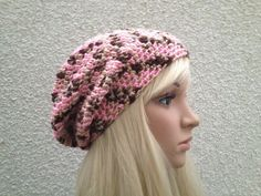 Handmade Crochet Hat in Cherry Cola Print Slouch by Madebyfate, $29.00