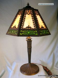 Antique+Glass+Lamps | Antique Slag Glass Lamp, Carmel, Green Glass Panels, 25 Inches Tall ...