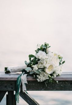 White & Green Bouquet with Ribbon   Photo: Briana Moore Photography.