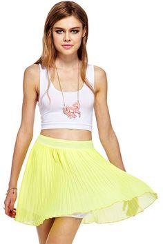 ROMWE | ROMWE Layered Pleated Chiffon Yellow Skirt, The Latest Street Fashion