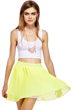 Shop ROMWE Layered Pleated Chiffon Yellow Skirt at ROMWE, discover more fashion styles online. Day Dresses, Casual Dresses, Latest Street Fashion, Romwe, Skater Skirt, Dress Up, Chiffon, Street Style, Stylish