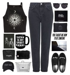 """""""Untitled #2501"""" by tacoxcat ❤ liked on Polyvore featuring H&M, Topshop, UNIF, Chanel and Vera Wang"""