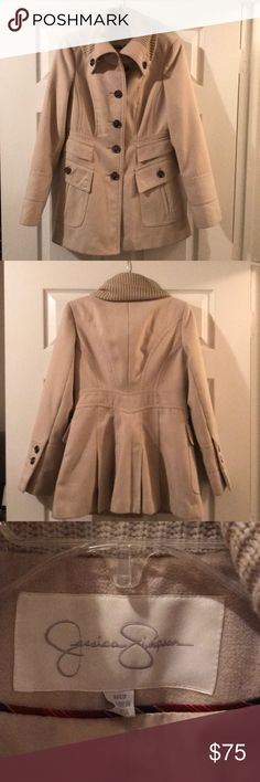 Jessica Simpson Pea Coat Beige Jessica Simpson pea coat. Gently worn, great condition. Pewter buttons and heavy material to keep you warm. Comes from a smoke-free home. Jessica Simpson Jackets & Coats Pea Coats