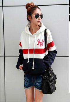 Korean Personal Women's Color Matched Fleecing Hoodie