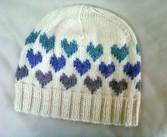 Free knitting pattern for Heart Hat with fair isle hearts
