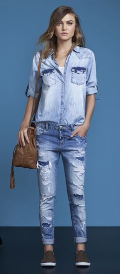 look all jeans camisa e calça jeans lez a lez primavera 2017