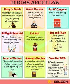 Idioms about Law and Politics! Learn useful English Idioms and expressions about Law and Politics with meaning, ESL pictures and examples. English Vocabulary Words, Grammar And Vocabulary, English Idioms, English Writing, English Study, English Tips, English Words, English Lessons, English Grammar