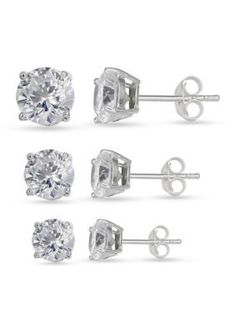Belk Silverworks Women Simply Sterling Silver Trio Cubic Zirconia Round Stud Earring Set - Silver - One Size #SterlingSilverEarrings