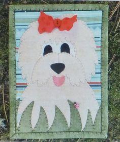 Doodles the Dog Mug Rug Laser Cut Applique Kit Sewing Kit