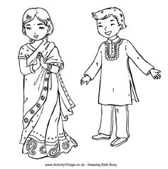 indian children colouring page travelling around the world to india we have a colouring page of two children wearing traditional indian costume