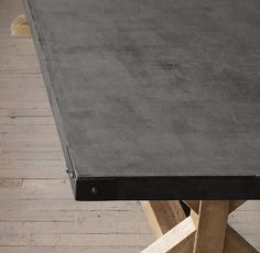 Salvaged Wood & Concrete X-Base - slate grey concrete top for bar