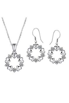 234f080ad Rhodium Plated Diamond Color Fashion Pendant Necklaces & Earrings Set with  Chain made with Swarovski Crystals.