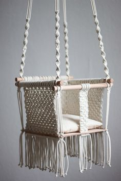 SALE: 10 % off >>>>> 135.00 € (before 150.00€) POLKA KNOT handmade macramé baby swing (model: Bibiana/small) Handmade macramé baby swing is a product