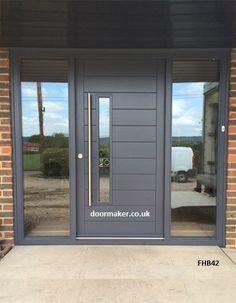 Ideas For Modern Front Door Porch Entrance Front Door Porch, Grey Front Doors, Front Doors With Windows, Modern Front Door, Front Door Entrance, Exterior Front Doors, House Front Door, Front Door Design, Front Door Colors