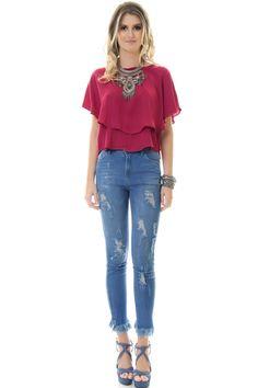 Calça Jeans Skinny Com Desfiado Barra - lojacaos