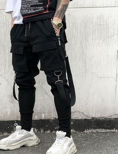 NEW Hot Side Pockets Pencil Pants Mens Hip Hop Patchwork Cargo Ripped Sweatpants Joggers Trousers Male Fashion Full Length Pants High Street Fashion, Men Street, Street Wear, Street Style, Street Goth, Paris Street, Hip Hop Fashion, Fashion Pants, Mens Fashion