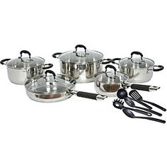 Gourmet Chef 15-piece Stainless Steel Cookware Set Black or Red | Overstock™ Shopping - Great Deals on Gourmet Chef Cookware Sets