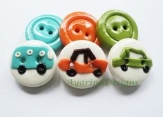 Retro cars - set of 6 polymer clay