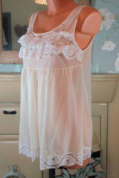 Vtg lemon lace sissy sheer nylon slip nightie babydoll peignoir L/XL R13086