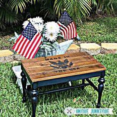 Patriotic Bench with a Pallet seat Unique Junkique