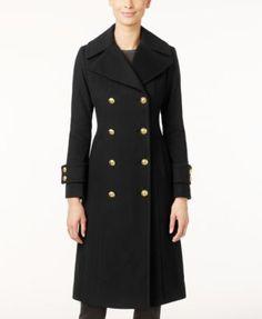 Anne Klein Double-Breasted Wool-Cashmere Blend Walker Coat